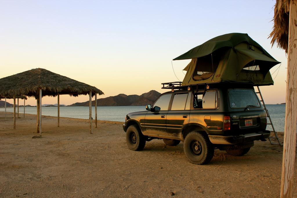 80 Series Toyota Land Cruiser on the beach